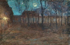 Moonlight in Village - 19th Century Oil, Trees in Night Landscape by Henri Duhem