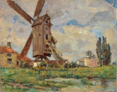 Moulin à Dixmude, Belgique - 19th Century Oil, Windmill in Landscape by H Duhem