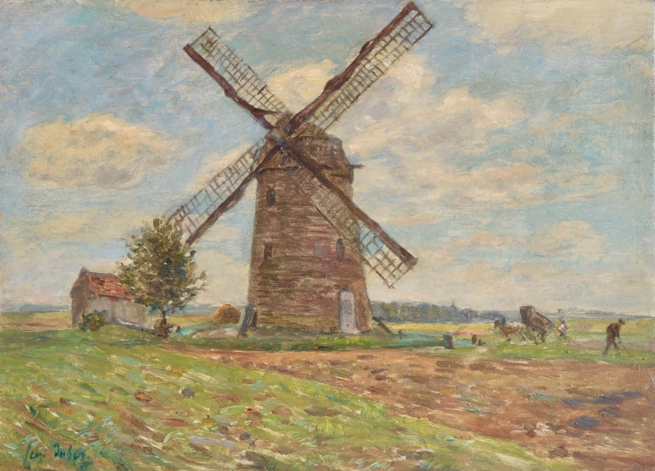 Moulin - French Impressionist Oil, Windmill in Landscape by Henri Duhem