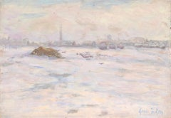 Neige - 19th Century Oil, Haystacks in Snowy Winter Landscape by Henri Duhem