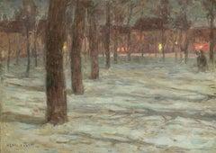 Neige dans le Village - 19th Century Oil, Snowy Winter Landscape by Henri Duhem