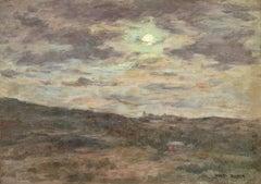 Nuit Nuageuse - 19th Century Oil, Moonlight in Cloud Landscape by Henri Duhem