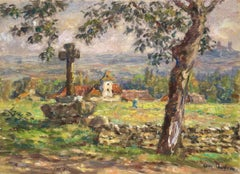"""Paysage Printemps - Vallee du Lot"" C.19th France Impressionist Church Landscape"