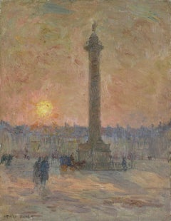Place Vendôme - 19th Century Oil, Figures in Landscape at Sunset by Henri Duhem