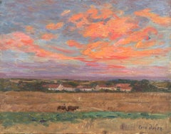 Red Sky - 19th Century Oil, Horses in Landscape at Sunset by Henri Duhem