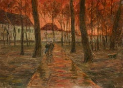 Red Sky - Douai - 19th Century Oil, Figures in Landscape at Sunset by H Duhem