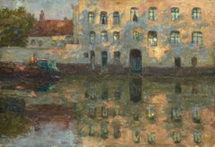 Reflections-Canal Flamand, Impressionist Oil, Boat on Canal Landscape by H Duhem