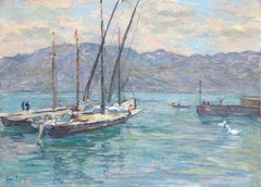 Sailing-Lac Geneva, Vevey - 19th Century Oil, Boats on Lake by Mountains - Duhem