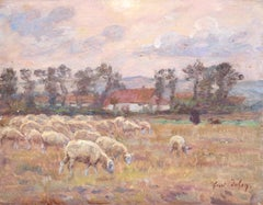 Shepherd and his Flock - 19th Century Oil, Sheep & Figure in Landscape by Duhem