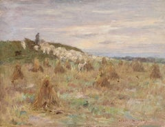 Shepherd at Sunset - 19th Century Oil, Sheep & Haystacks in Landscape by H Duhem