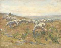 Shepherd & Grazing Flock - 19th Century Oil, Sheep in Landscape by Henri Duhem