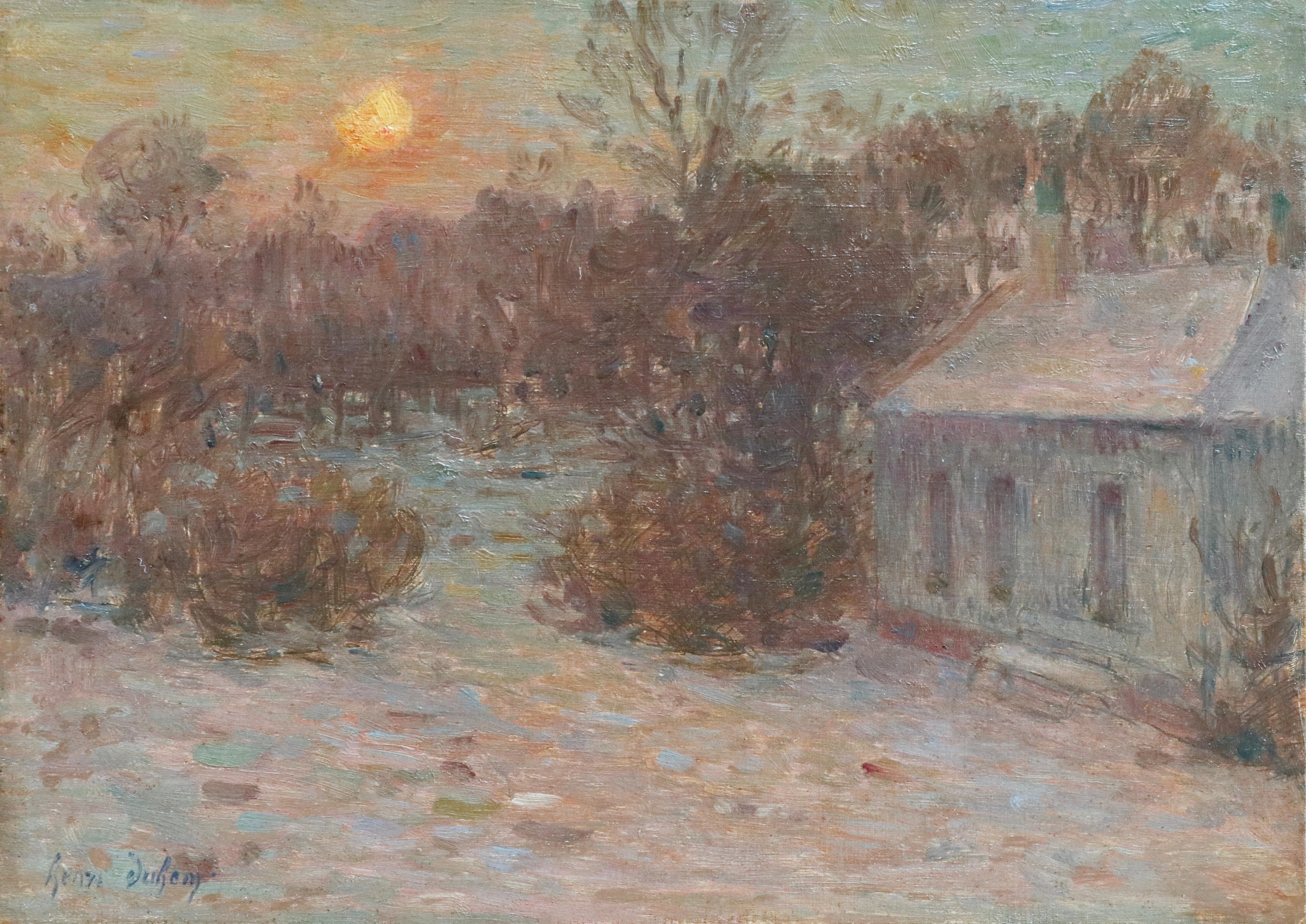 Soirée d'Hiver - 19th Century Oil, Winter Evening Snow Landscape by Henri Duhem