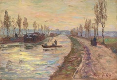 Sunset over the Canal - Douai - 19th Century Oil, Figures in Landscape by Duhem