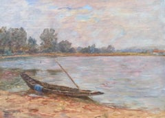 Sur l'etang á Nimes - 19th Century Oil, Boat on Pond Landscape by Henri Duhem