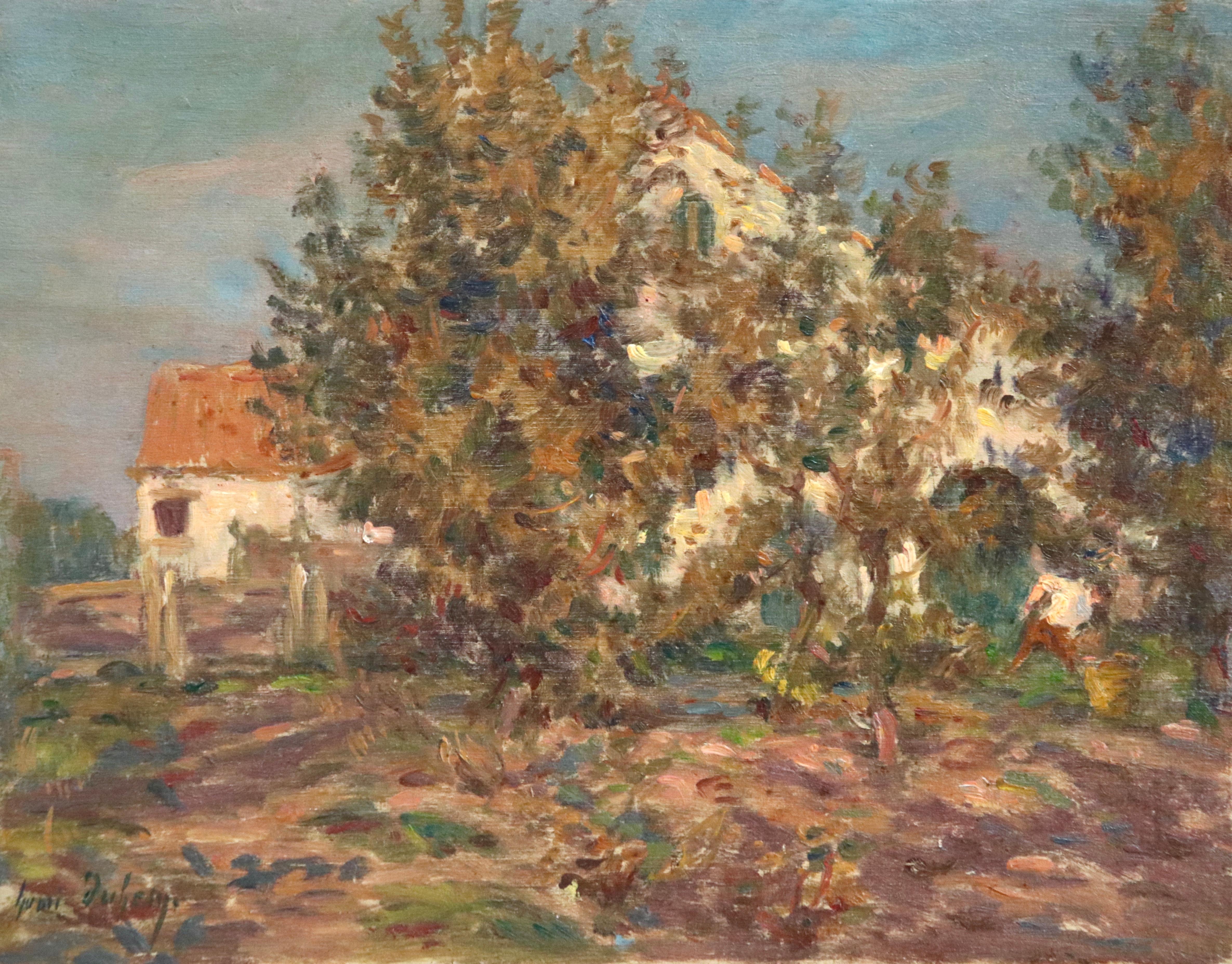 Tending the Garden - 19th Century Oil, Figure by Cottage Landscape - Henri Duhem