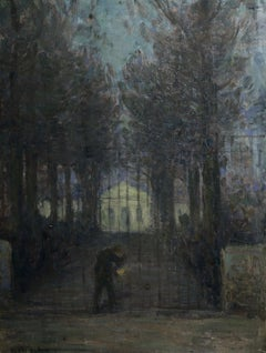 The Nightwatchman - 19th Century French Oil Figure in Night Landscape by Duhem