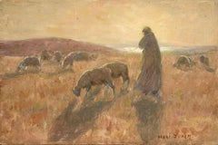 The Shepherd - 19th Century Oil, Shepherd & Sheep Landscape at Sunset by H Duhem