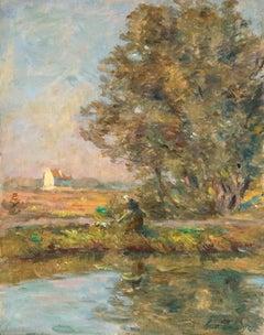 Une promenade au bord de la rivière - 19th Century Oil, River Landscape by Duhem