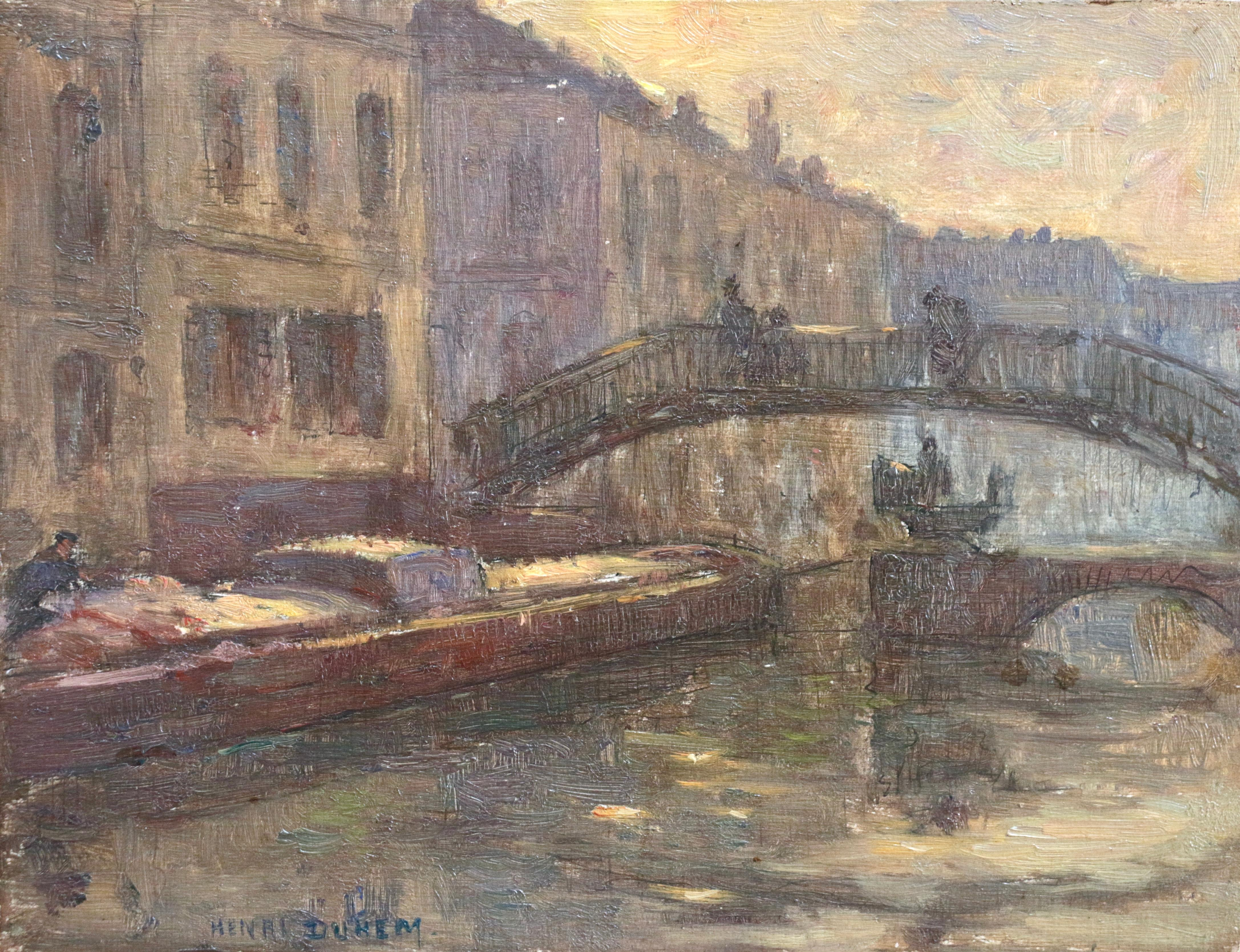 Venice - Evening - 19th Century Oil, Boats on Canal Landscape by H Duhem