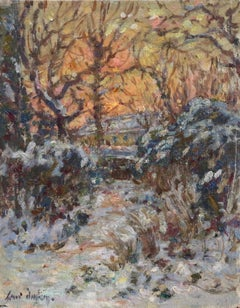 Winter Sunset - The Artist's Garden - 19th Century Oil, Snow Landscape by Duhem