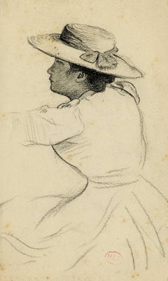 Woman in a hat with arm upraised