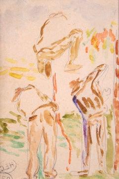 Etude de travailleurs - Impressionist Watercolor, Study of Figures - Henri Cross