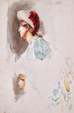 Study of women - Figurative Impressionist Watercolor by Henri Edmond Cross