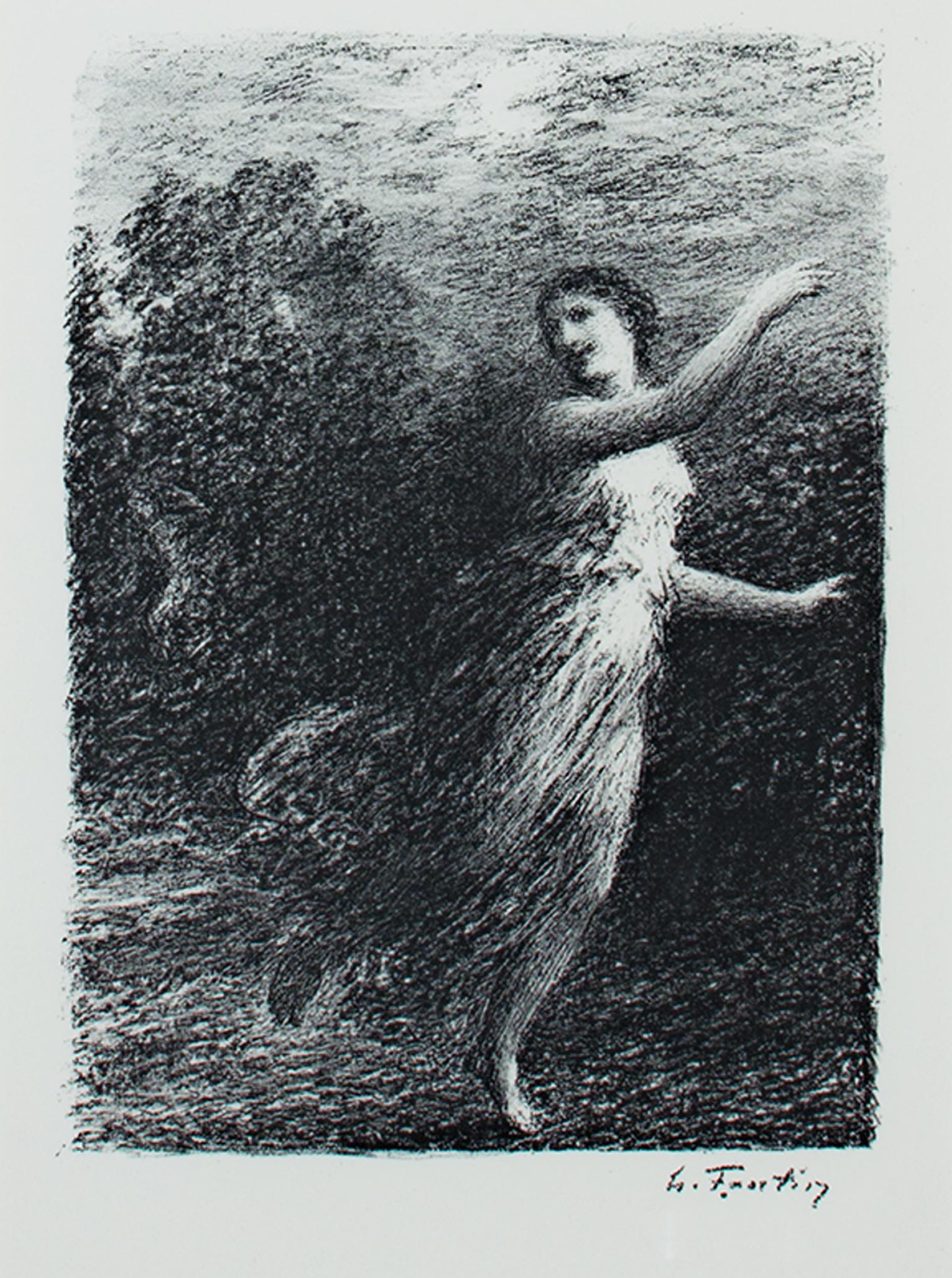 """Original lithograph from """"Les Bucoliques,"""" XVII Joy, by Henri de Fantin-Latour"""