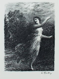 "Original lithograph from ""Les Bucoliques,"" XVII Joy, by Henri de Fantin-Latour"