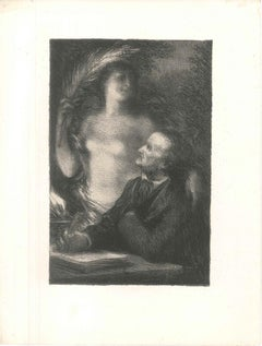 The Muse - Original Lithograph by Henri Fantin-Latour - 1886