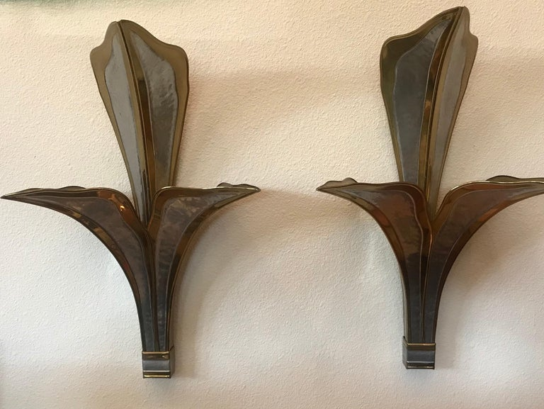 Henri Fernandez Nouveau Pair Large Wall Lights For Sale 7