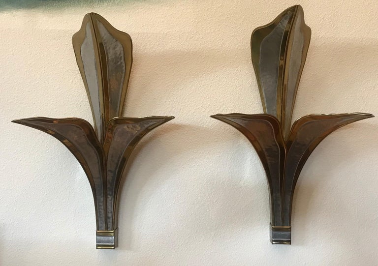 Late 20th Century Henri Fernandez Nouveau Pair Large Wall Lights For Sale
