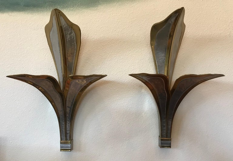 Brass Henri Fernandez Nouveau Pair Large Wall Lights For Sale