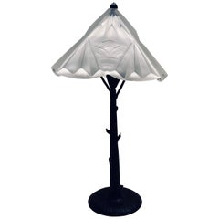 Henri Fournier Art Deco French Iron and Molded Glass Lamp in the Form of a Tree