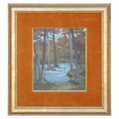 Lovely Impressionist River Landscape Painting by Henri Gadbois