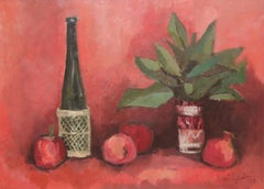 Still Life with Wine Bottle, Apples and Aspidistra