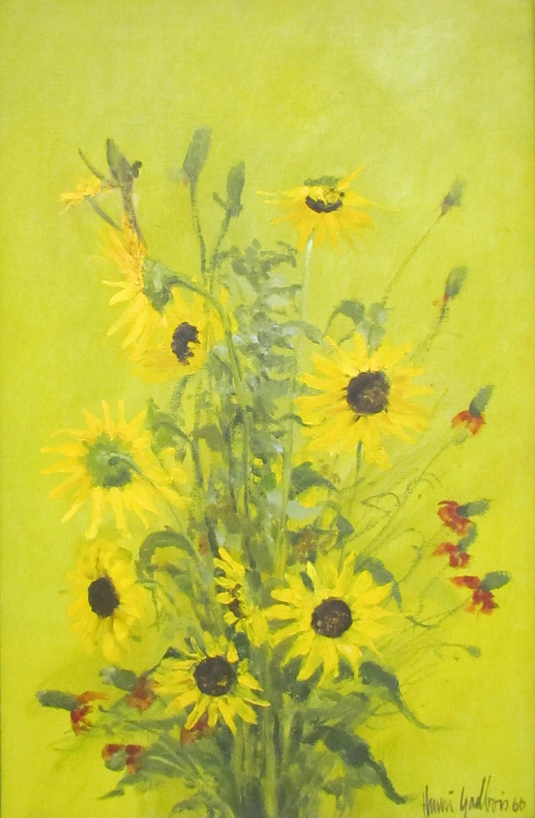 """Beautiful floral still-life titled """"Sunflowers"""" by renowned artist Henri Gadbois.  Oil on canvas.  Circa 1966. Dimensions are of painting itself without frame.  Artist Biography: Henri Gadbois is a second generation Houston artist. Gadbois, a native"""