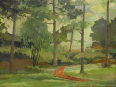 The Red Brick Path (Oil on Canvas)