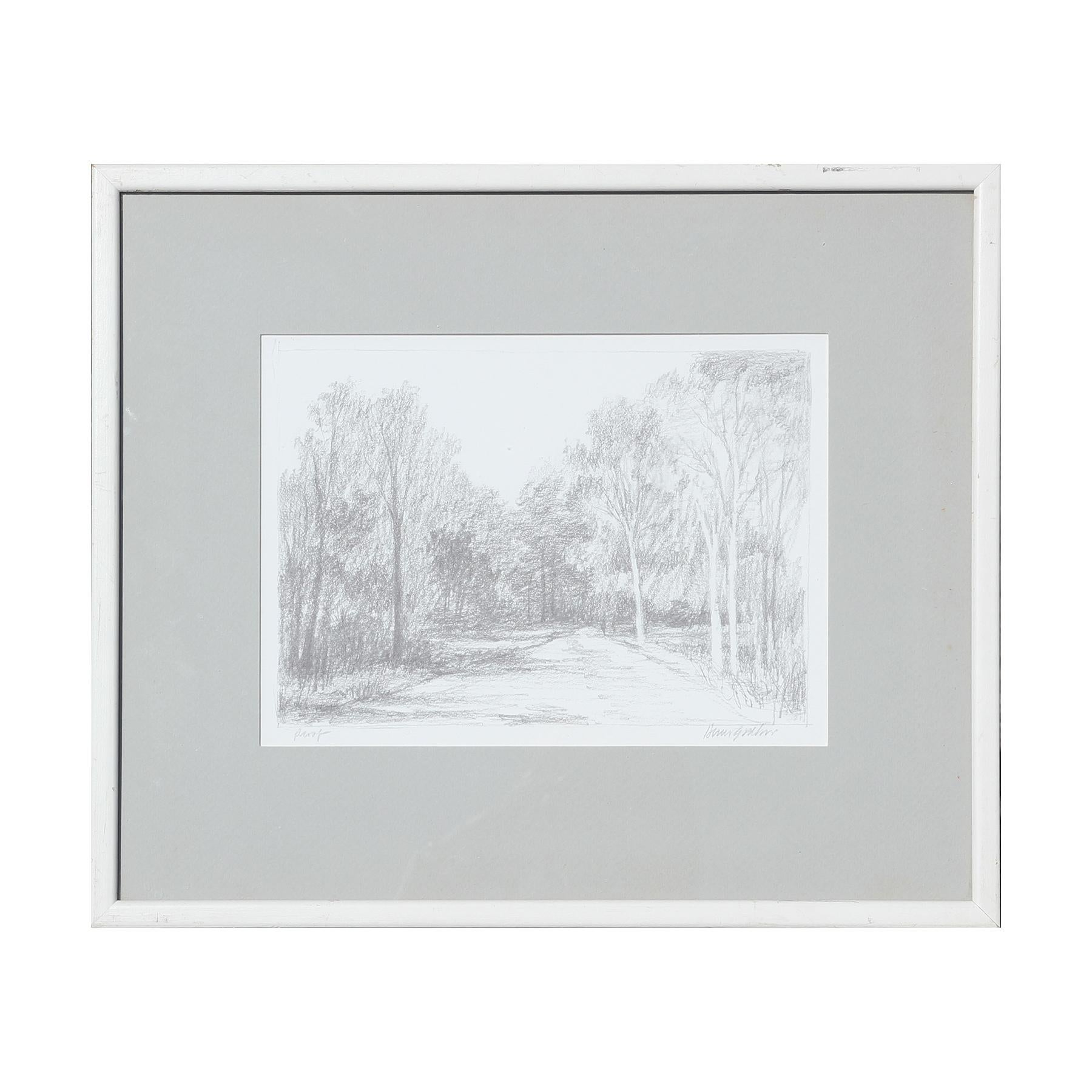 Naturalistic Grey Forest Path Photo Print Proof of Abstract Pencil Drawing