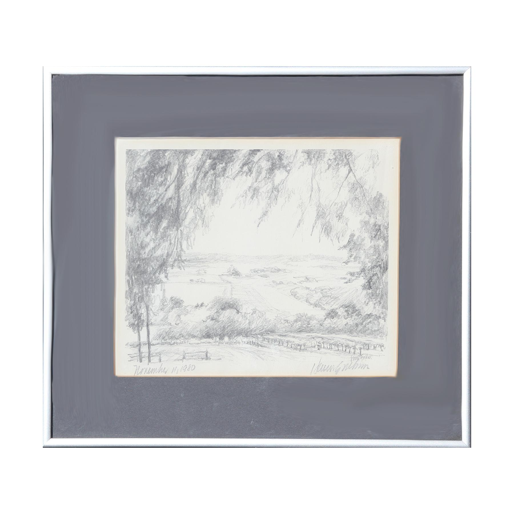Naturalistic Grey View of a Field Photo Print Proof of Abstract Pencil Drawing