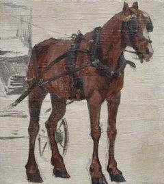 Henri Darien (1864-1926) Horse harnessed to a cab, study for a Parisian scene