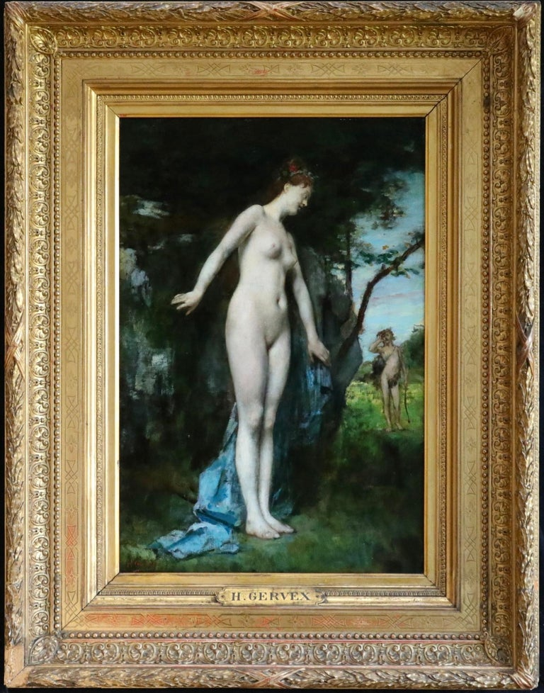 Diana & Actaeon - 19th Century Mythological Oil, Nudes in Landscape by H Gervex For Sale 1