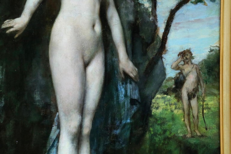 Diana & Actaeon - 19th Century Mythological Oil, Nudes in Landscape by H Gervex For Sale 6