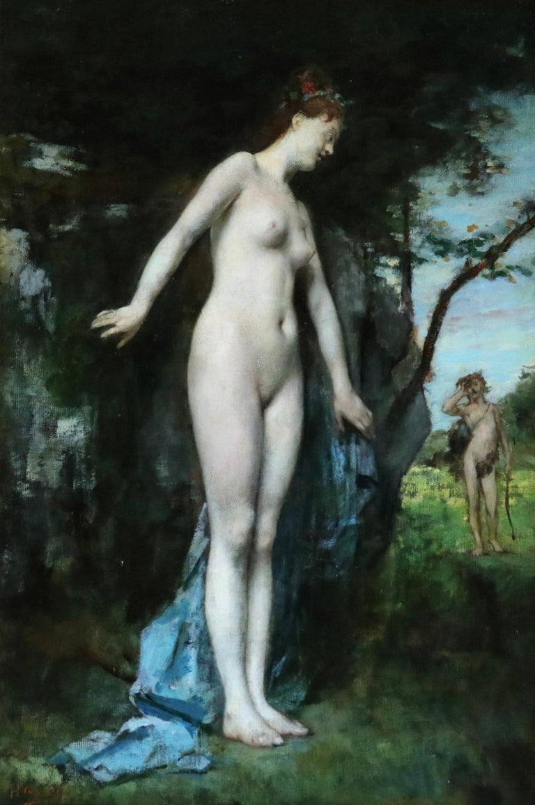 Oil on original canvas by Henri Gervex depicting Diana and Actaeon. It is a mythological tale of a young hunter, Actaeon who has a chance encounter with Diana, the goddess of the hunt. Diana is bathing when Actaeon stumbles upon the scene and