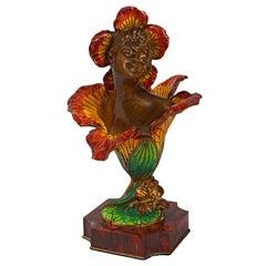 """Henri Godet Enamel and Bronze Sculpture """"Femme-Fleur Lily"""""""