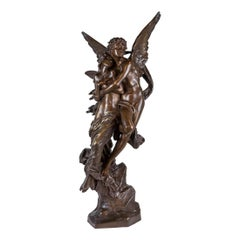 An Important Henri Godet Patinated Bronze Group Depicting Cupid and Psyche