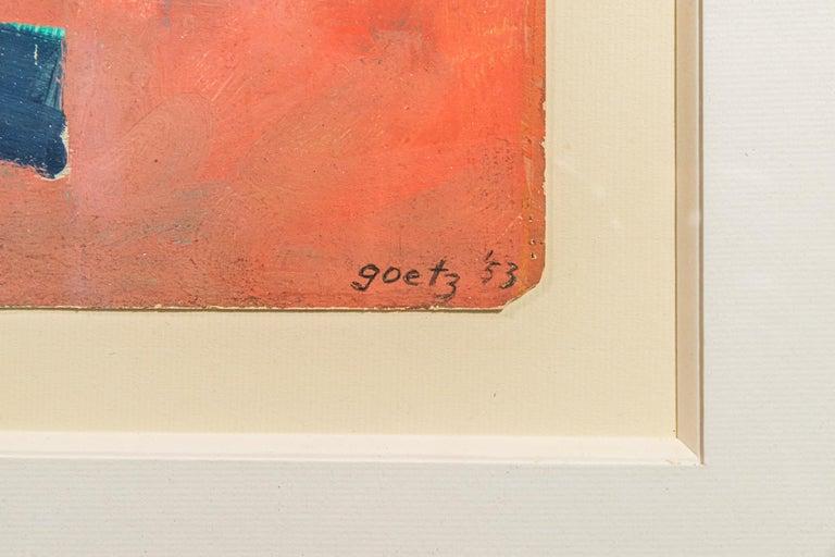 Mid-Century Modern Henri Goetz, Composition, Painting, France, 1953 For Sale