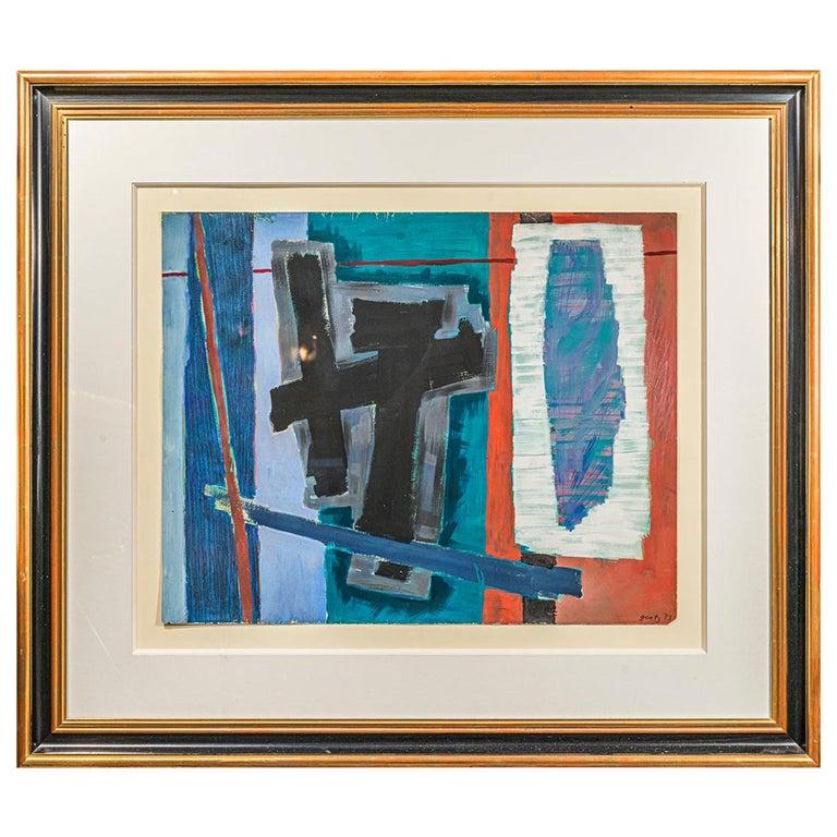 Henri Goetz, Composition, Painting, France, 1953 For Sale