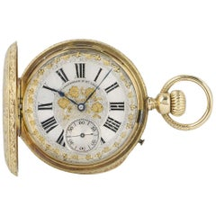 Henri Grandjean & Co. Full Hunter Pocket Watch 18k Yellow Gold Silvered Dial