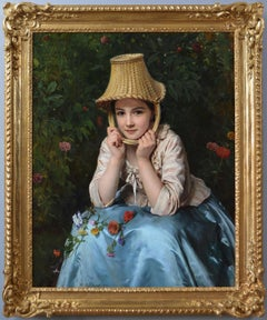 19th Century genre oil painting of a young woman with a basket